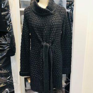 VINCE Wool Sweater Tie Front Long Cozy